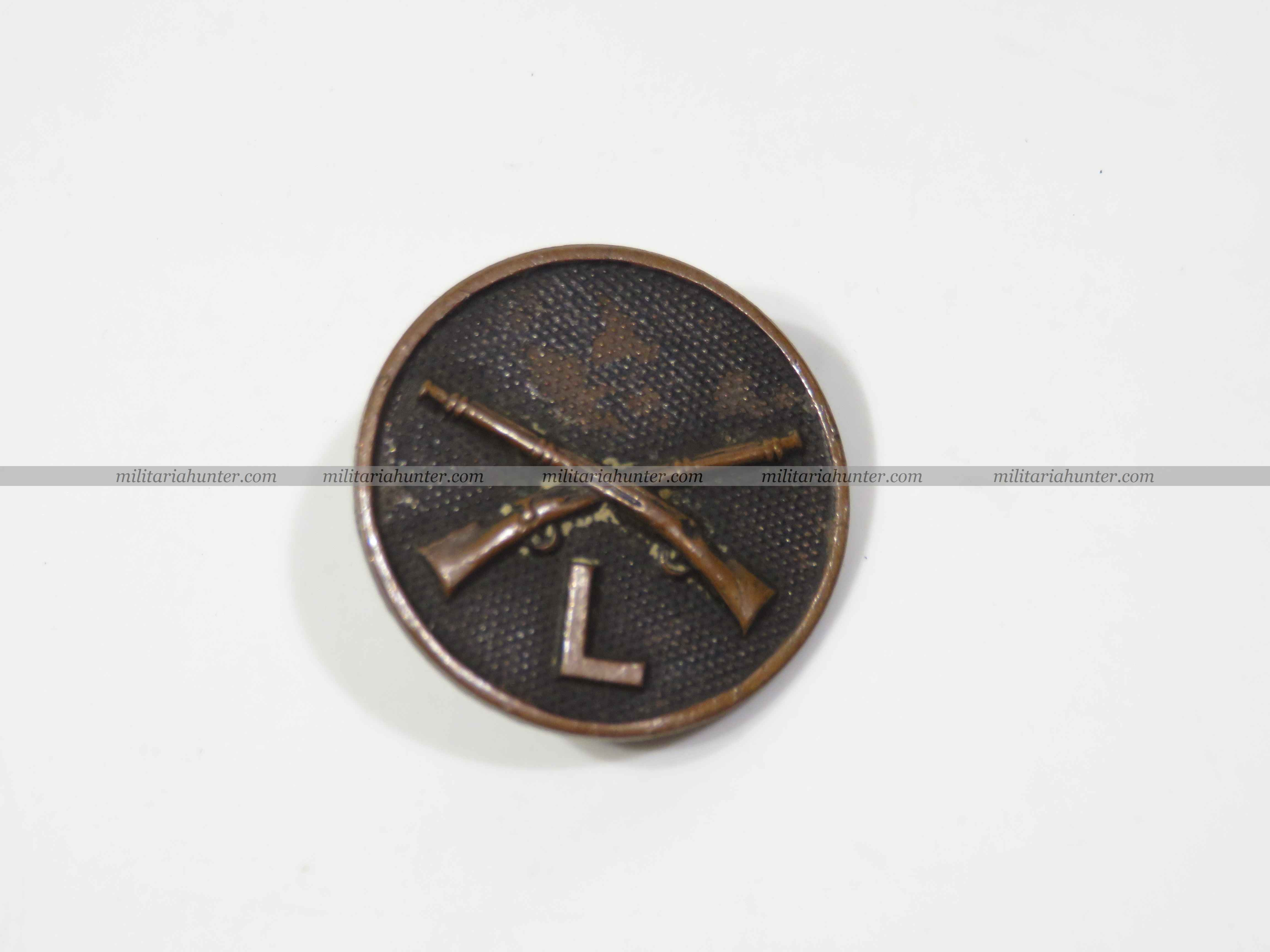 militaria : ww1 US collar disk Infantry L Coy