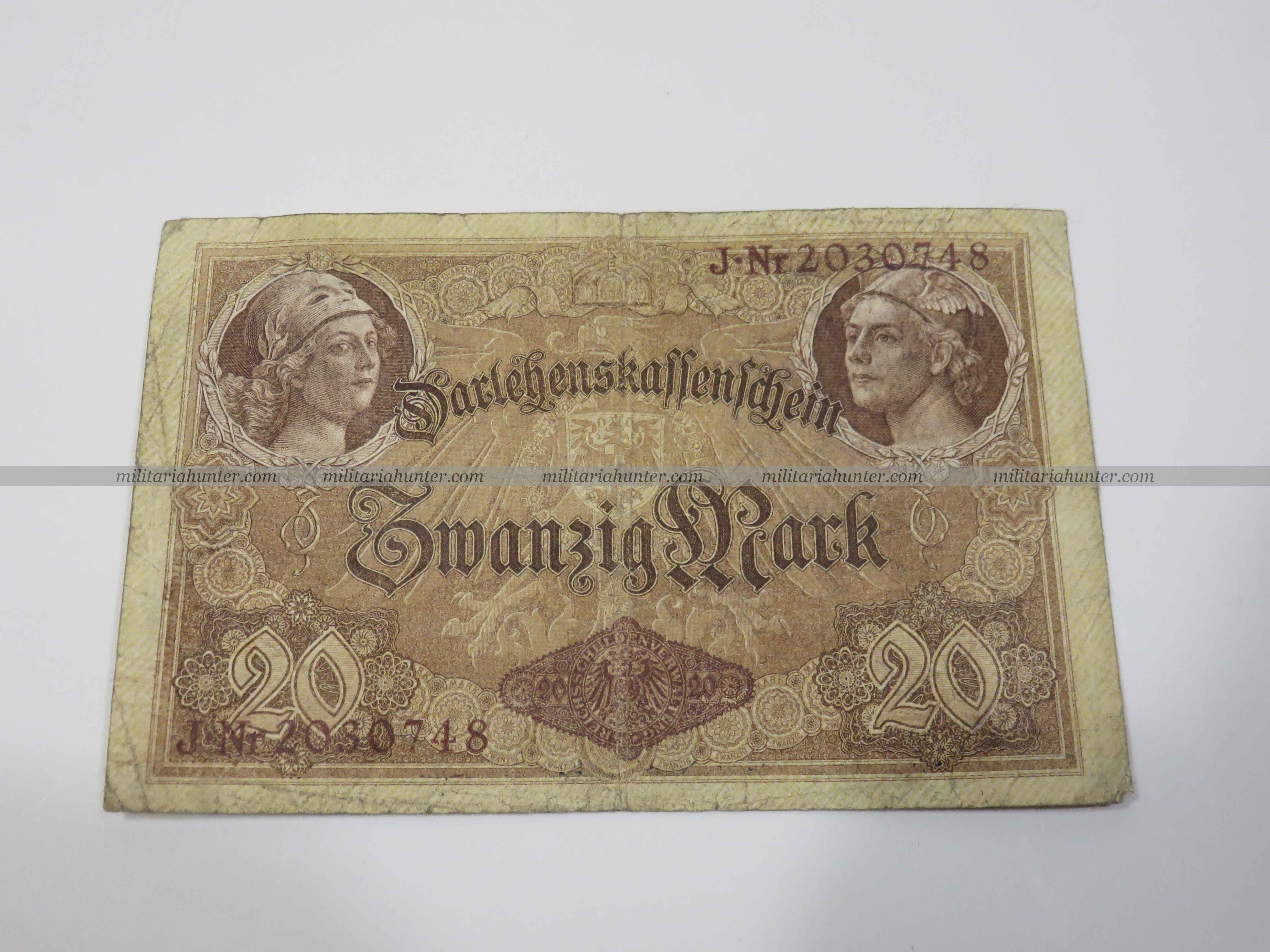 militaria : ww1 german banknote 20 Mark 1914 - billet allemand ww1 de 20 Mark