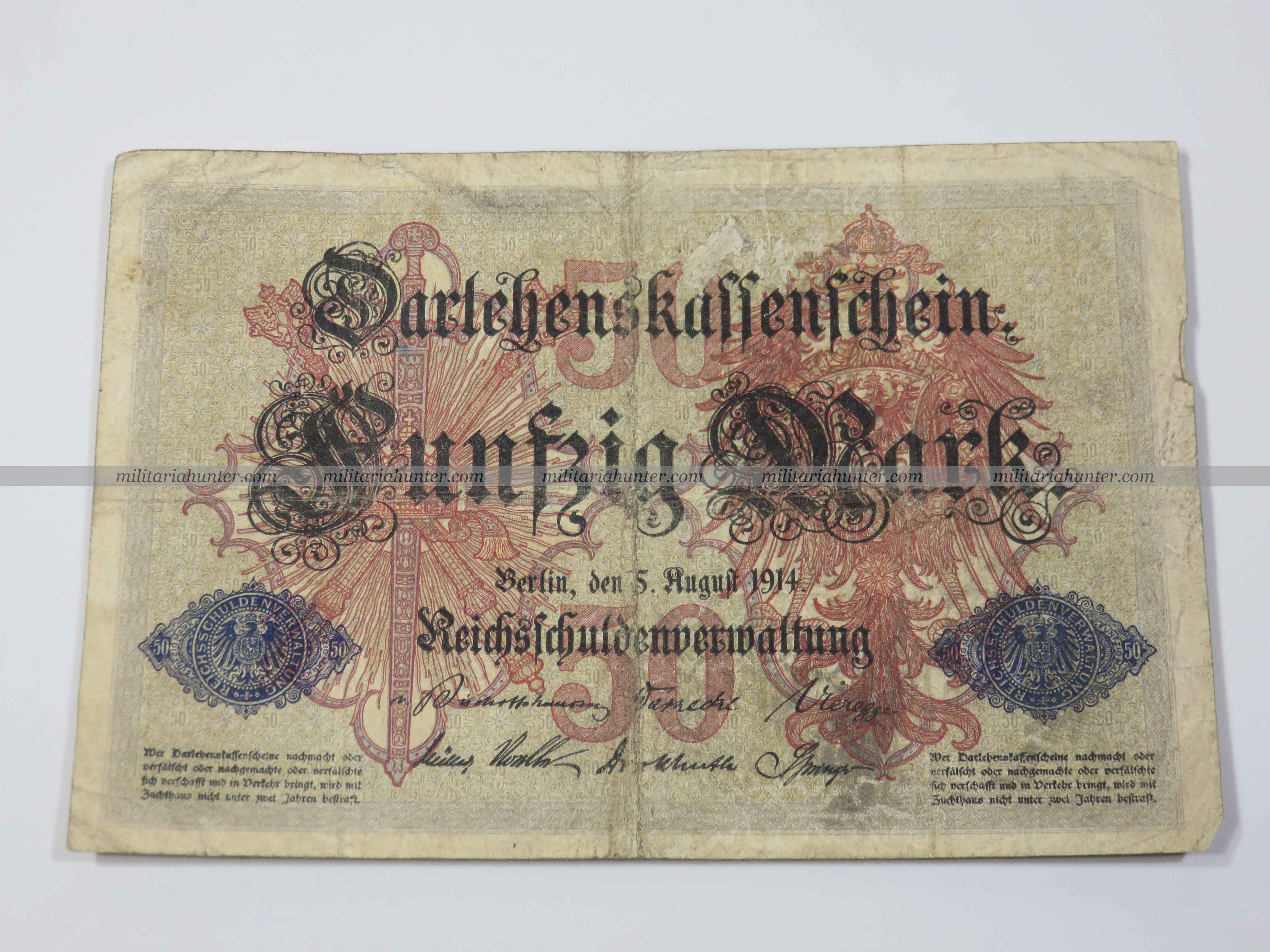 militaria : ww1 german banknote 50 Mark 1914 - billet allemand ww1 de 50 Mark