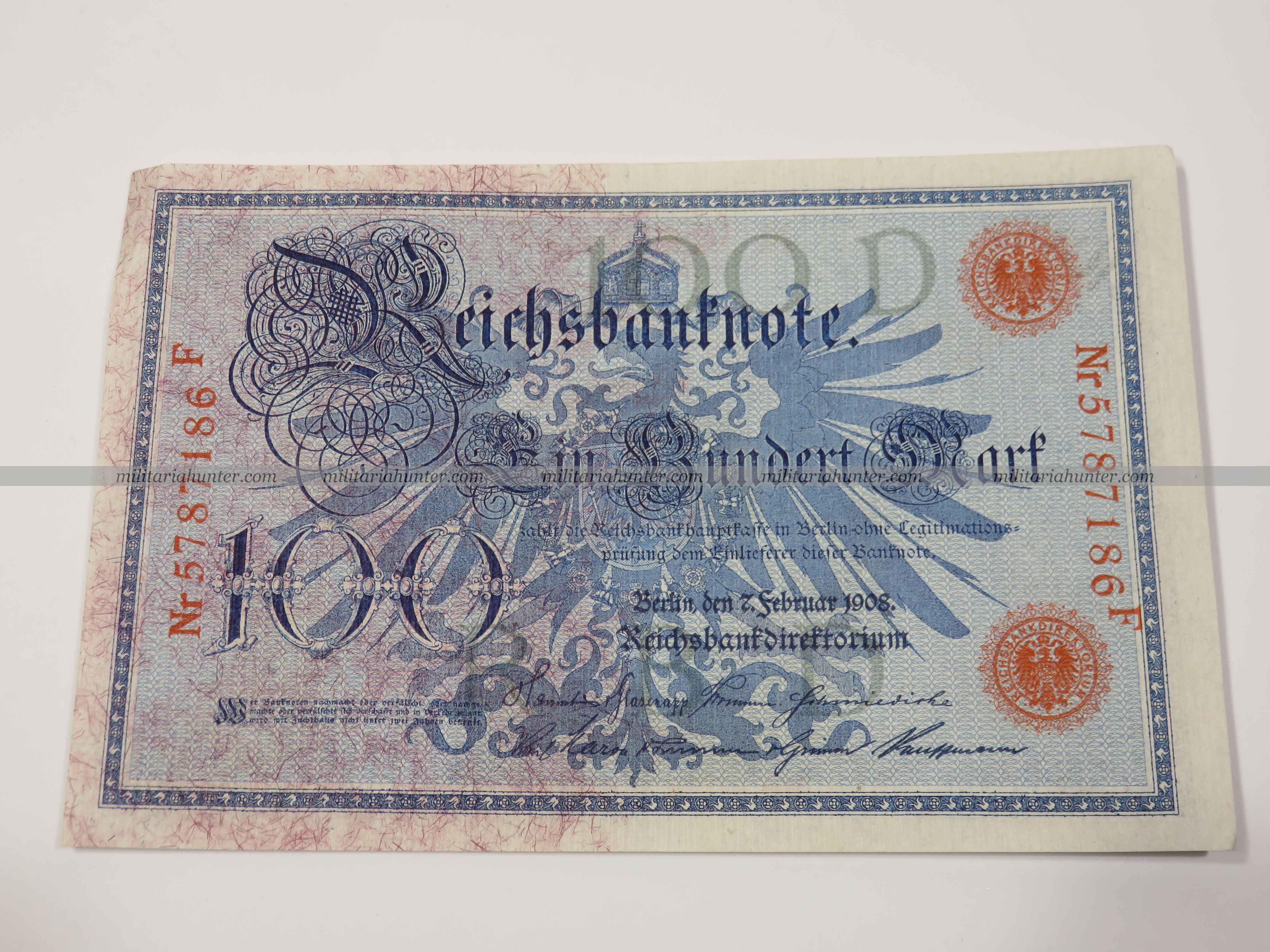 militaria : ww1 german banknote 100 Mark 1908 - billet allemand ww1 de 100 Mark