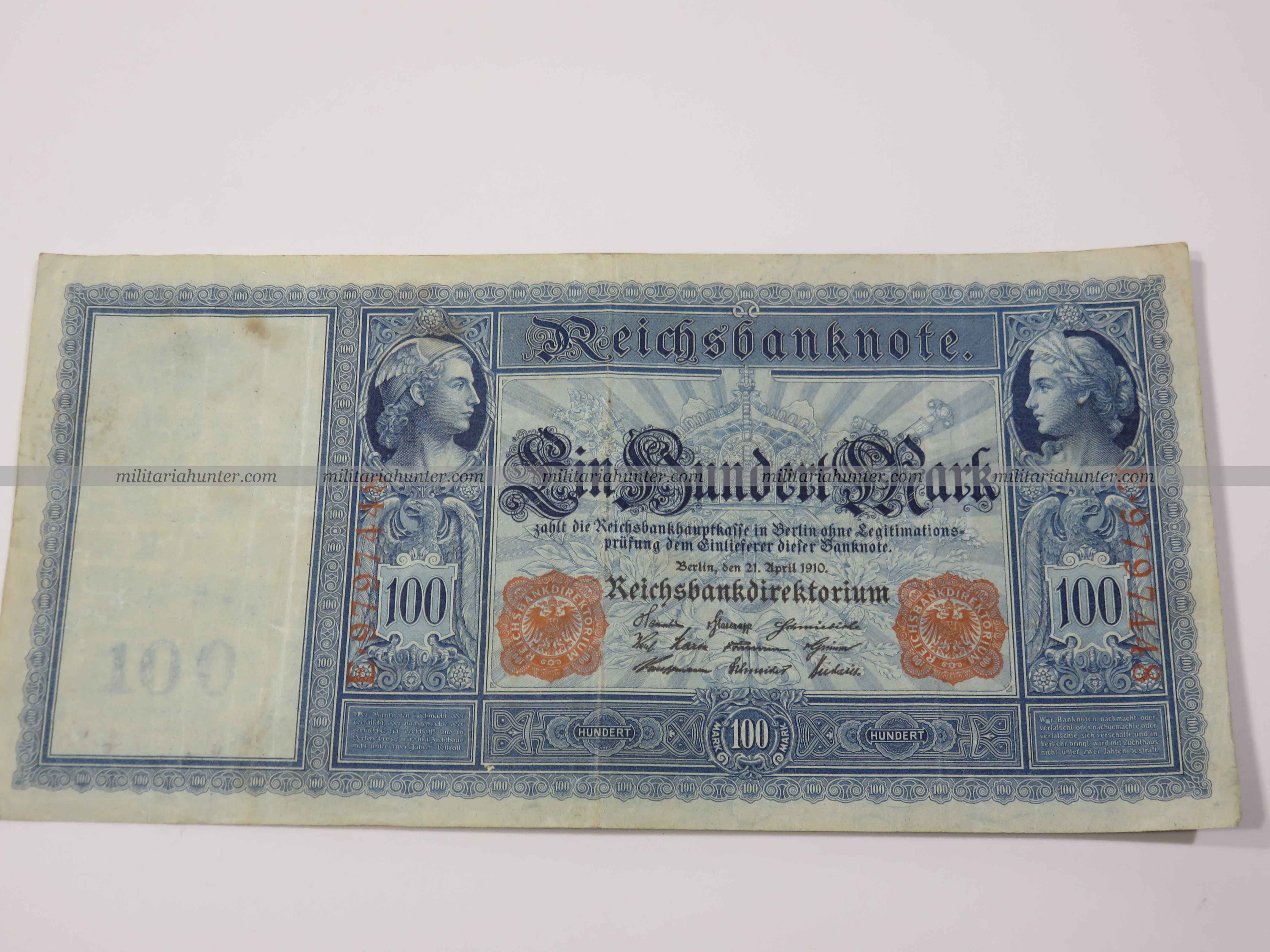 militaria : ww1 german banknote 100 Mark 1910 - billet allemand ww1 de 100 Mark