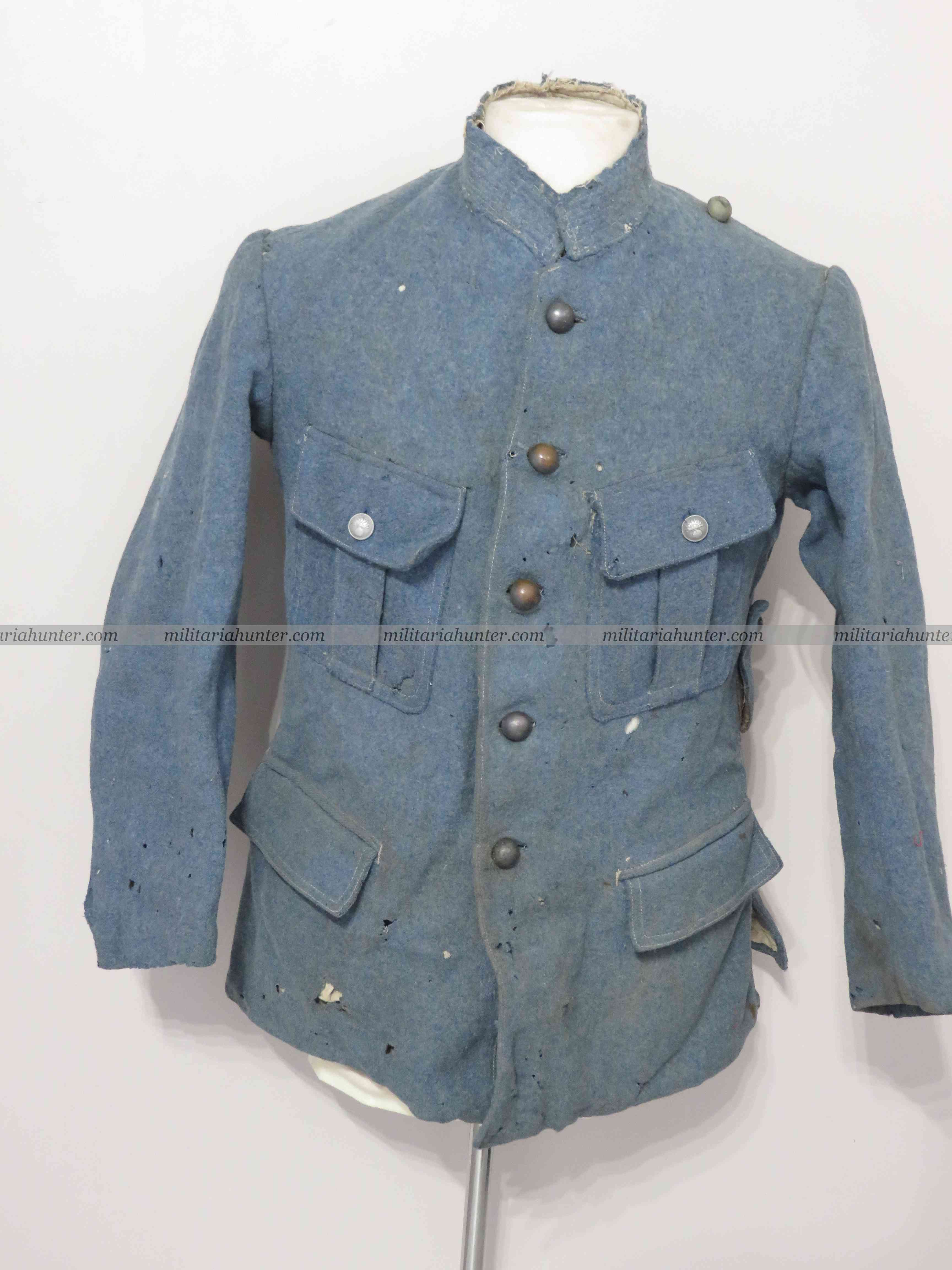 militaria : ww1 french tunic to be restaured - tunique bleu horizon à restaurer