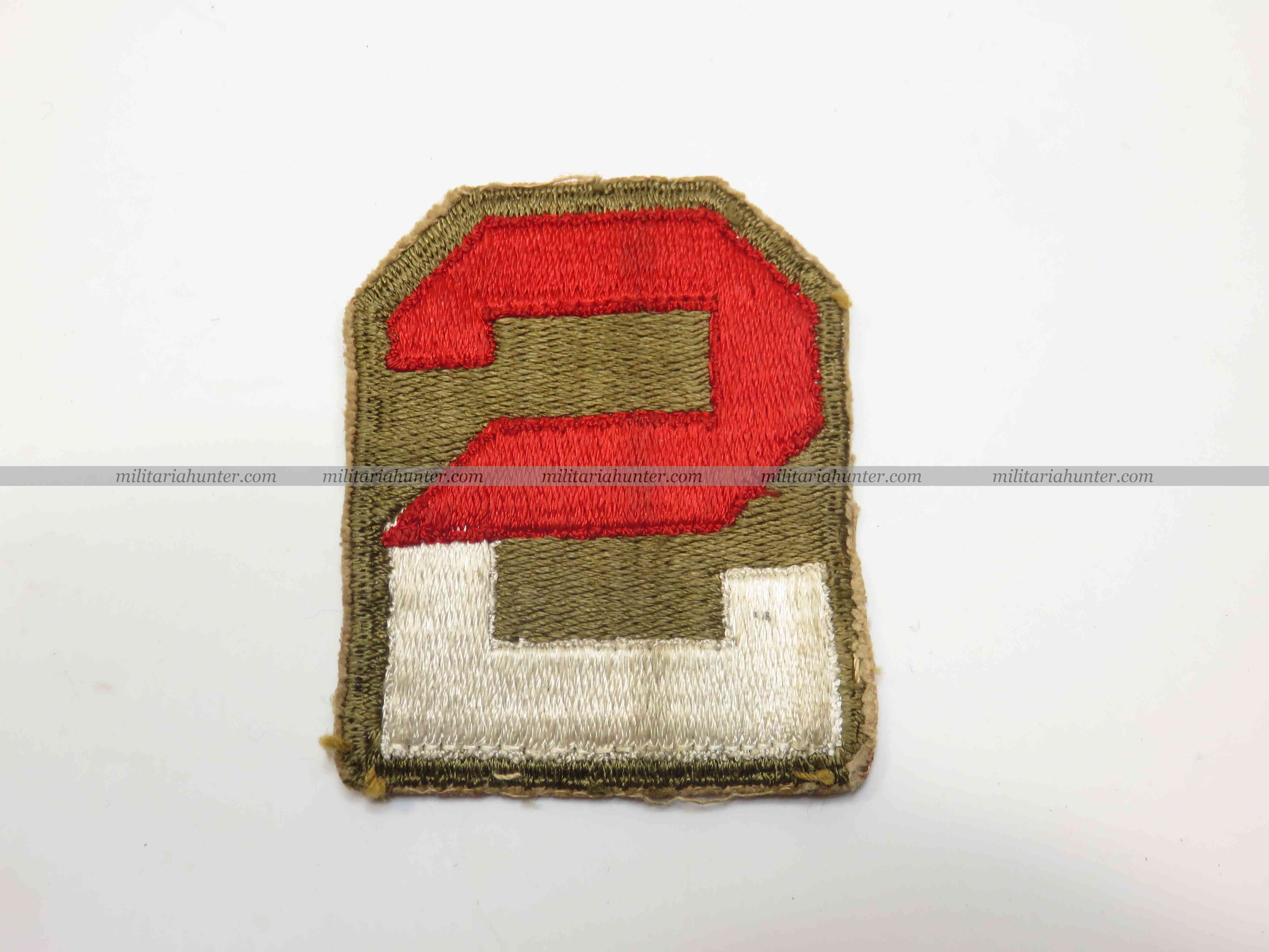 militaria : ww2 2nd Army patch cut edge OD border