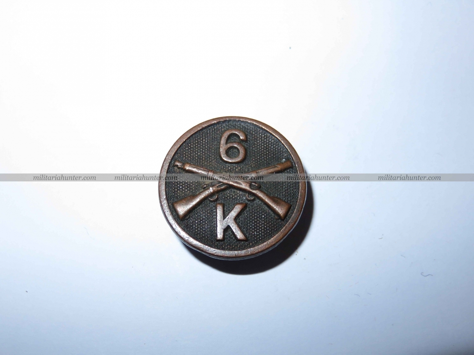 militaria : Collar disc 6th Infantry - K coy - ww1