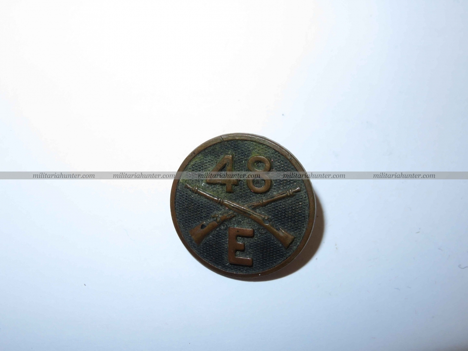 militaria : Collar disc 48th Infantry E Coy