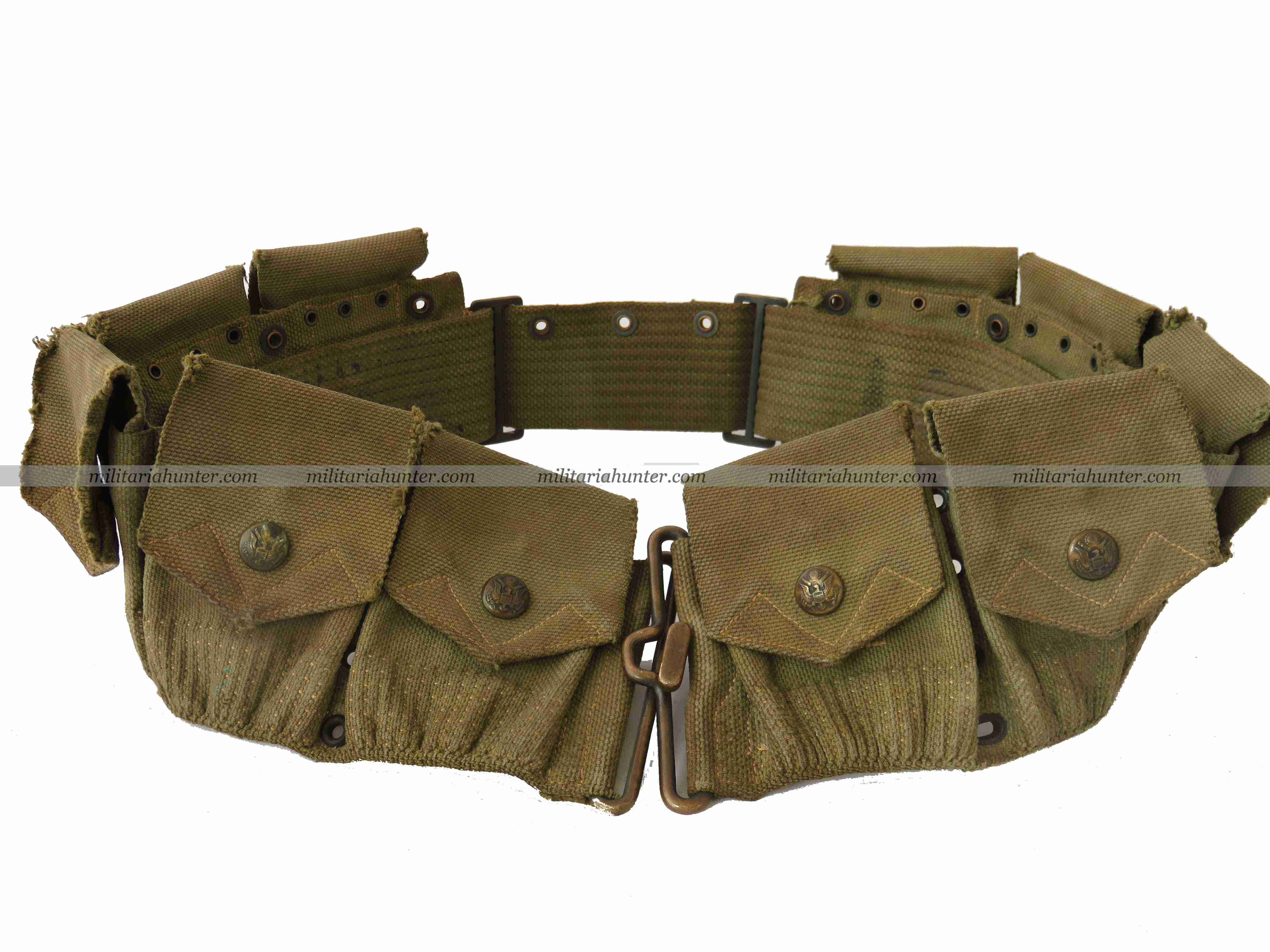 militaria : US WW1 M1910 Eagle Snap ammo belt green