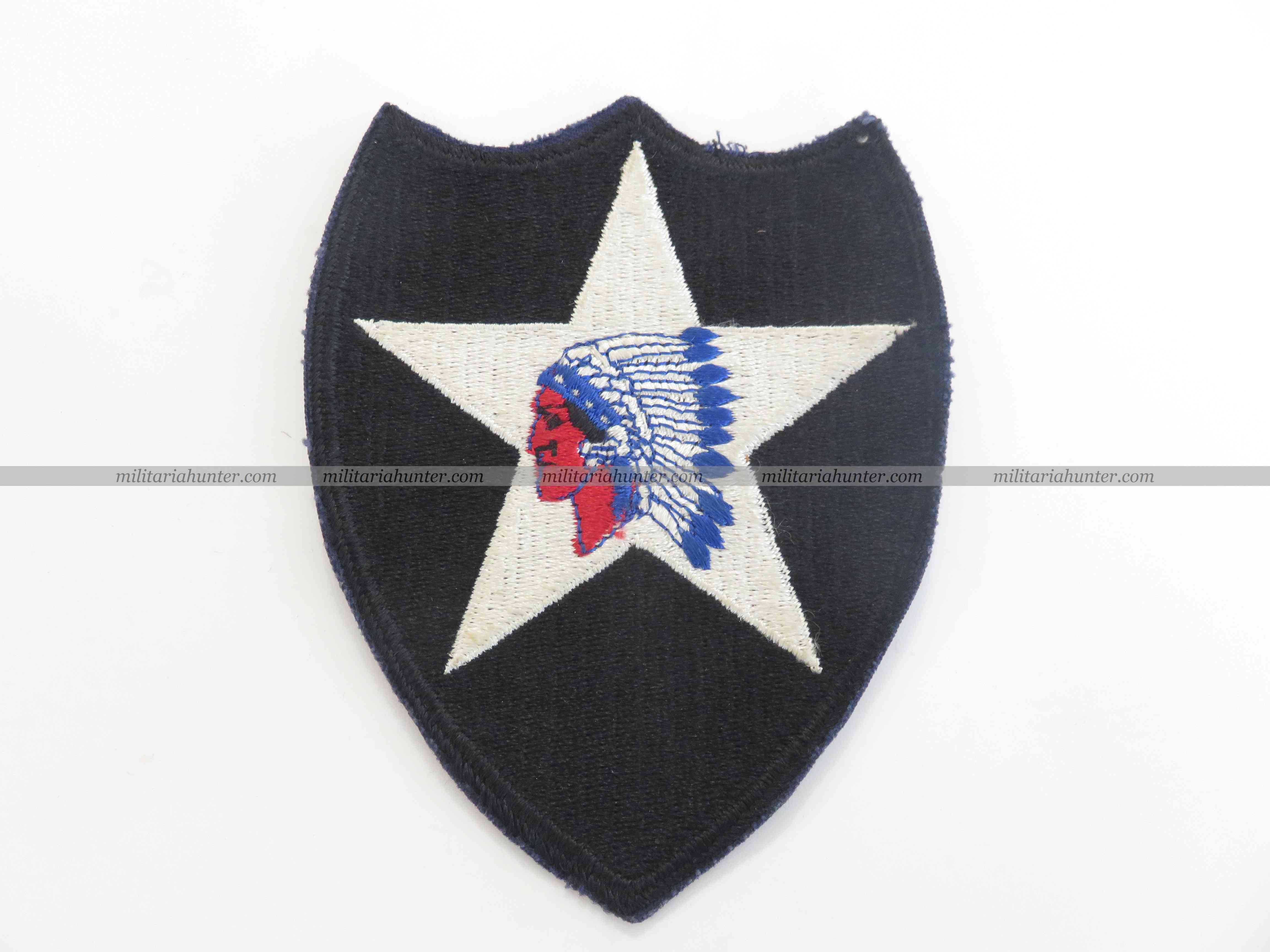 militaria : Corée Vietnam 2nd Division Indian Head patch (50'-60's)