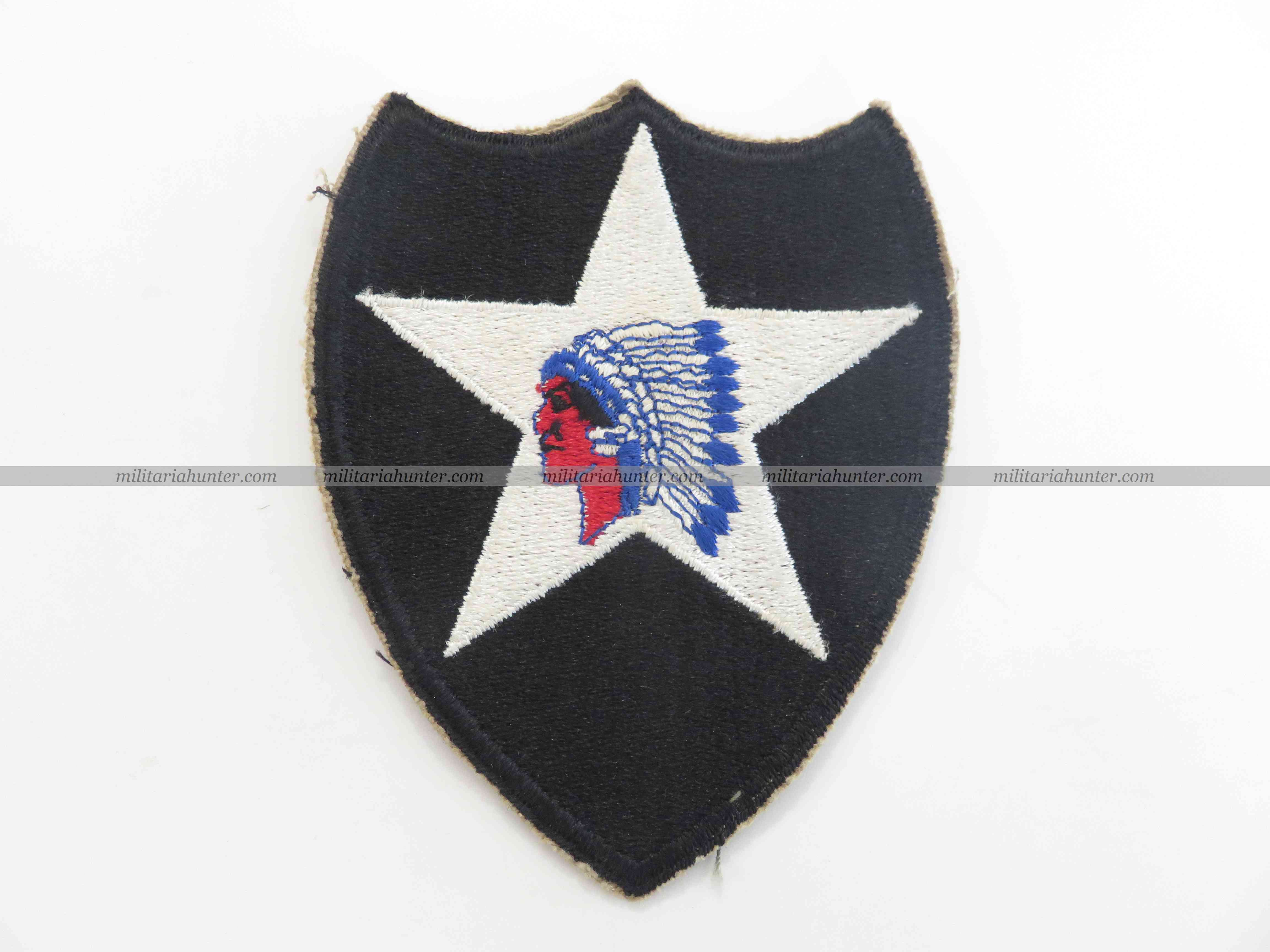 militaria : ww2 2nd Division Indian Head patch cut edge OD border